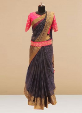 Fabulous Blue Color Festive Wear Silk Saree