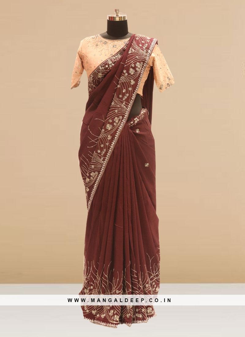 Fabulous Brown Color Festive Wear Silk Saree