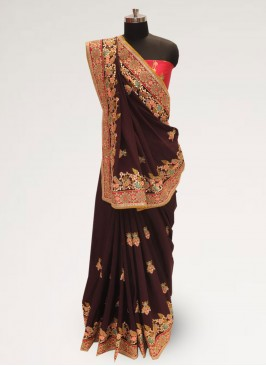 Fabulous Brown Color Party Wear Silk Saree