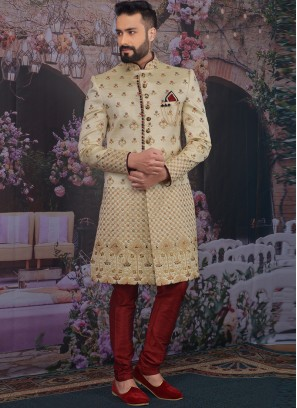Fabulous Gold Color Men Sherwani For Wedding