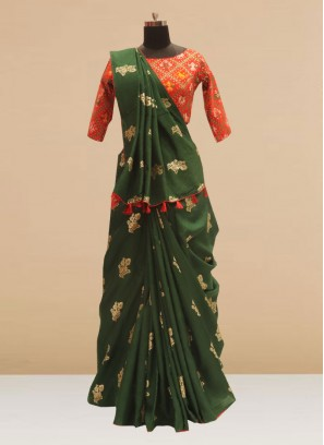 Fabulous Green Color Festive Wear Silk Saree