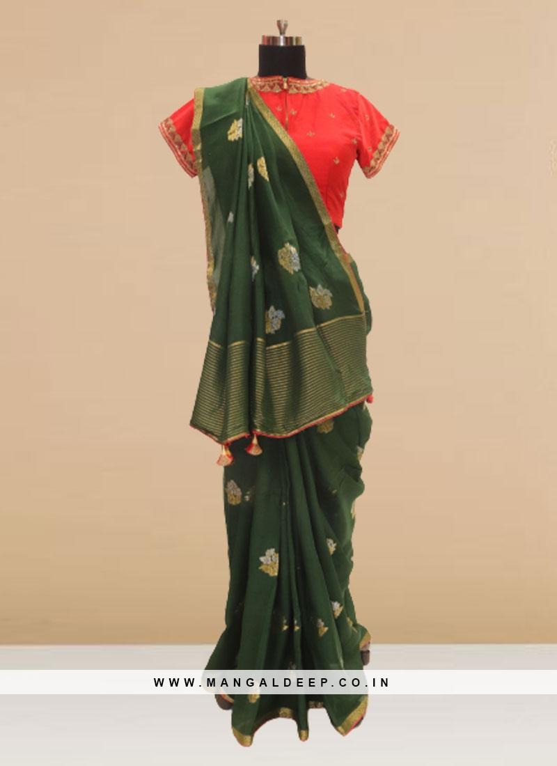 Fabulous Green Color Festive Wear Silk Saree