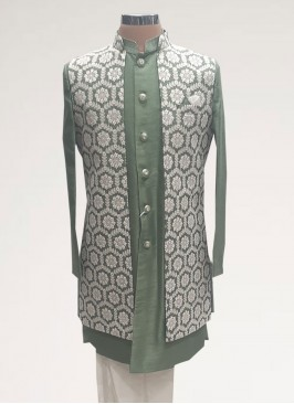 Fabulous Green Color Men Kurta Pajama