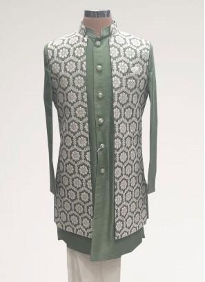 Fabulous Green Color Men Kurta Pajama