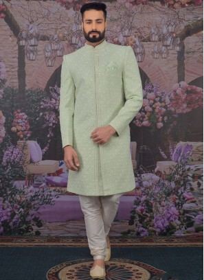 Fabulous Green Color Men Sherwani For Wedding
