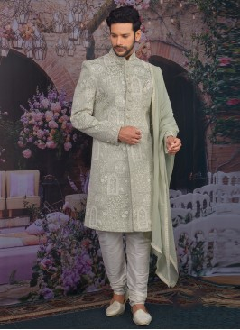 Fabulous Green Color Men Sherwani For Wedding
