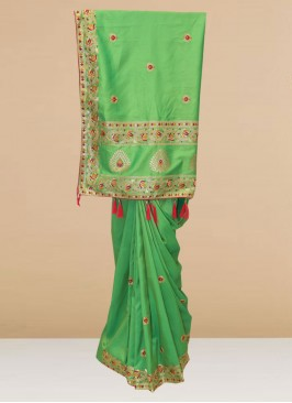 Fabulous Green Color Party Wear Designer Saree