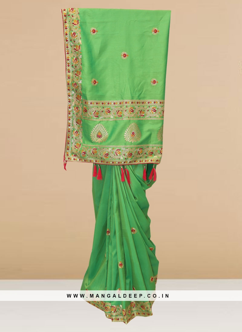 Fabulous Green Color Party Wear Designer Saree