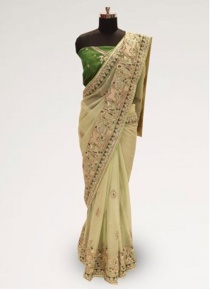 Fabulous Green Color Party Wear Silk Saree