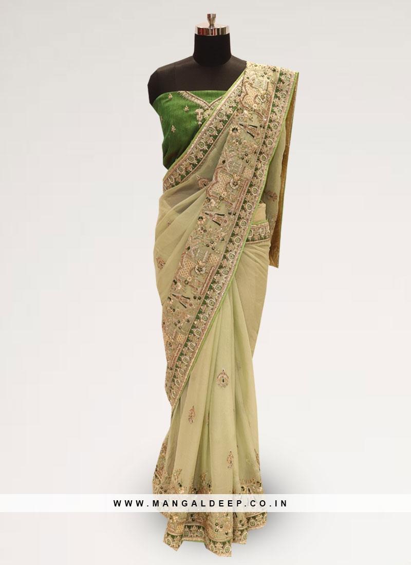 Fabulous Green Color Party Wear Silk Saree