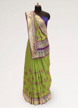 Fabulous Green Party Wear Designer Saree