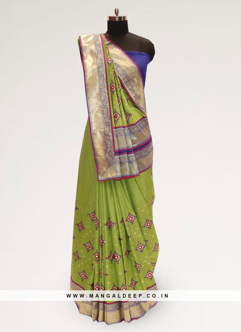 Fabulous Green Party Wear Designer Saree