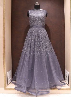Fabulous Grey Color Designer Net Fancy Gown