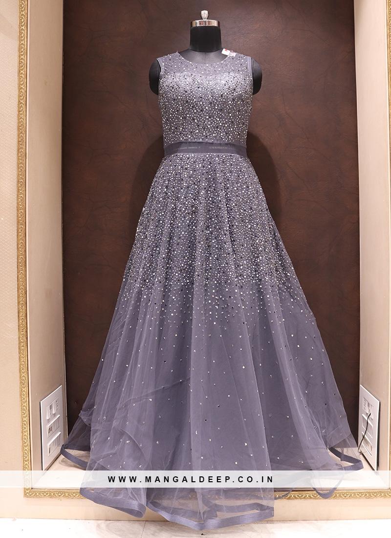 Fabulous Grey Color Designer Net Fancy Gown