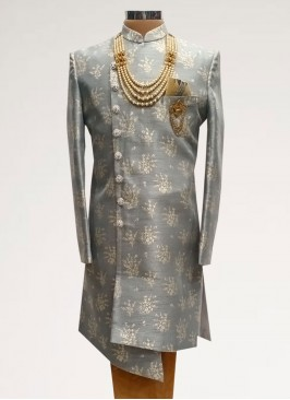 Fabulous Grey Color Men Indo Western Kurta Pajama