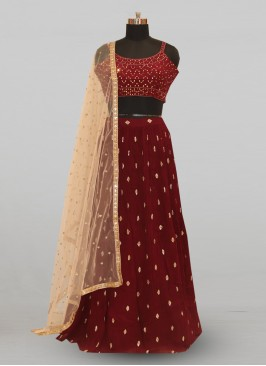 Fabulous Maroon Color Party Wear Deisgner Lehenga Choli