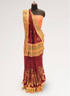 Fabulous Maroon Party Wear Designer Saree
