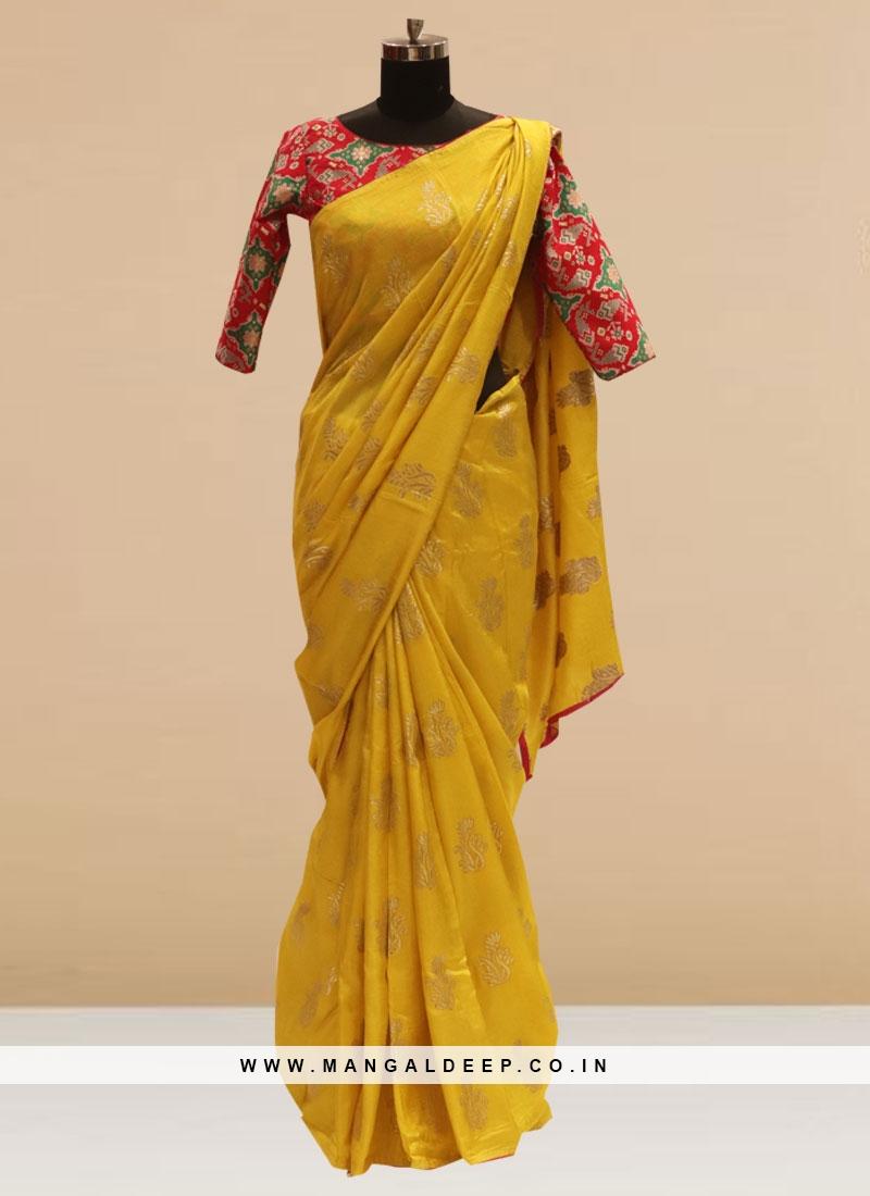 Fabulous Mustard Color Festive Wear Silk Saree