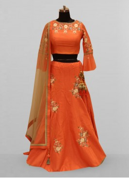 Fabulous Orange Color Function Wear Lehenga Choli