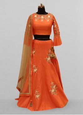 Fabulous Orange Color Function Wear Lehenga Choli