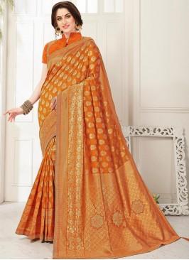 Fabulous Orange Color Party Wear Saree With Unstitched Blouse
