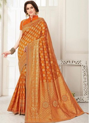 Fabulous Orange Color Party Wear Saree With Unstitched Blouse