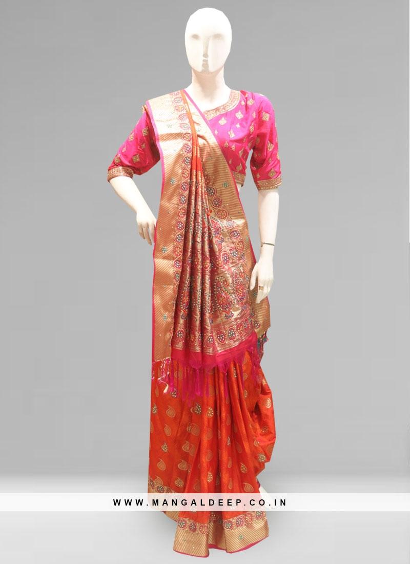Fabulous Orange Color Party Wear Silk Saree