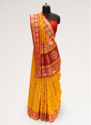 Fabulous Orange Party Wear Designer Saree