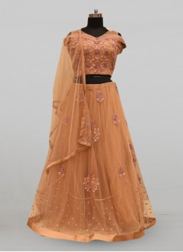 Fabulous Peach Color Party Wear Deisgner Lehenga Choli