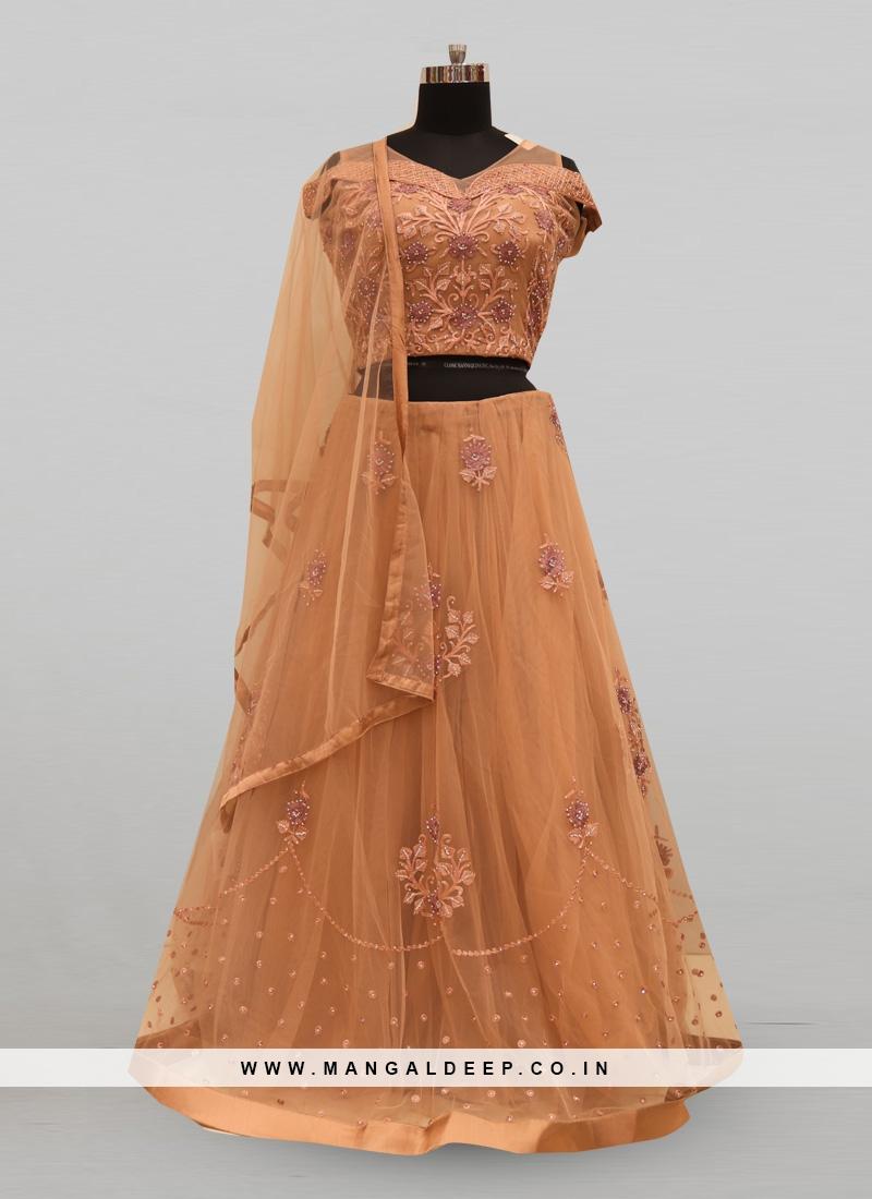 Fabulous Peach Color Party Wear Deisgner Lehenga Choli