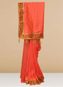 Fabulous Peach Color Party Wear Designer Saree