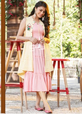 Fabulous Pink Color Party Wear Rayon Kurti
