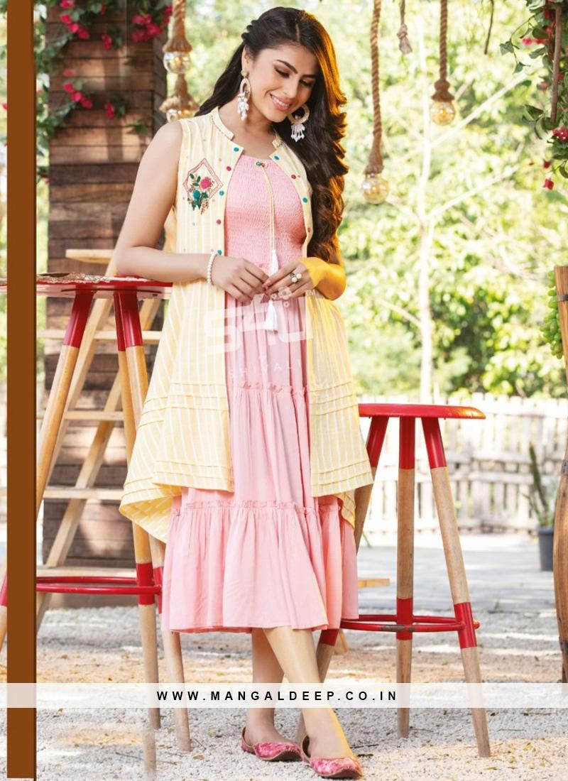 Fabulous Pink Color Party Wear Rayon Kurti