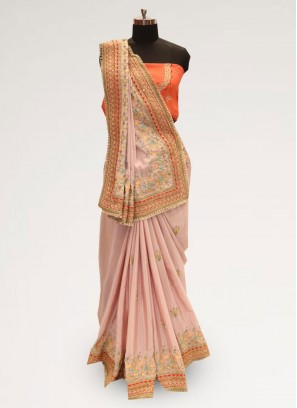 Fabulous Pink Color Party Wear Silk Saree