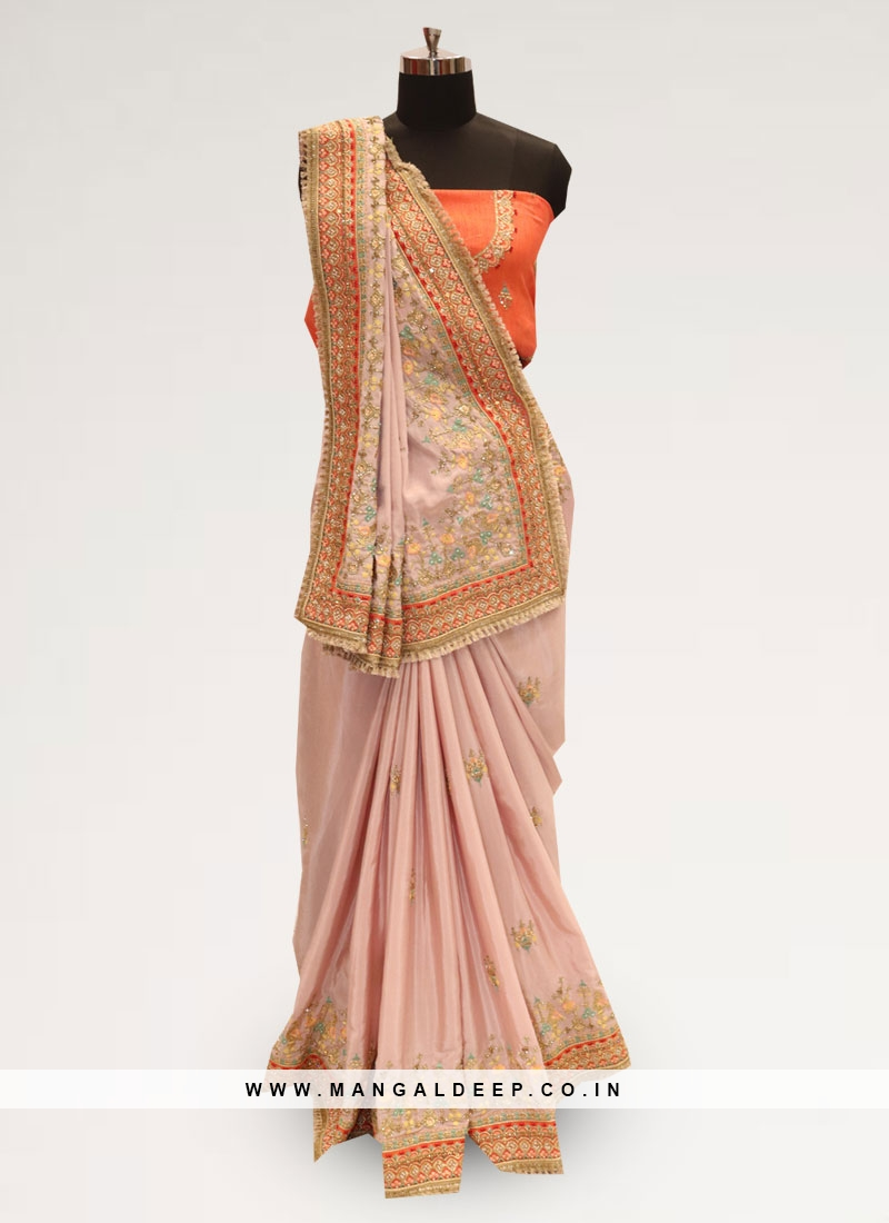 Fabulous Pink Color Party Wear Silk Saree