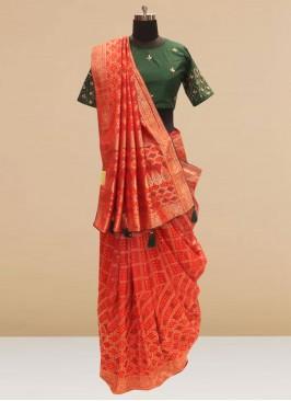 Fabulous Red Color Festive Wear Silk Saree