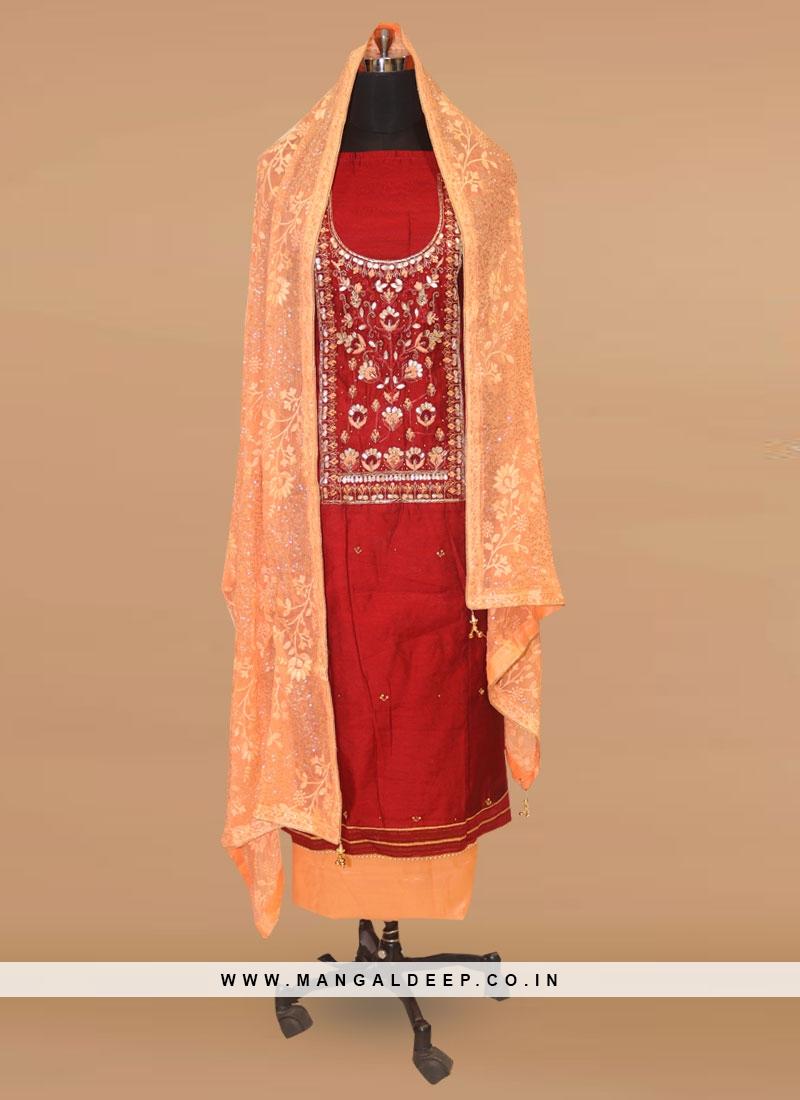 Fabulous Red Color Function Wear Designer Salwar Kameez