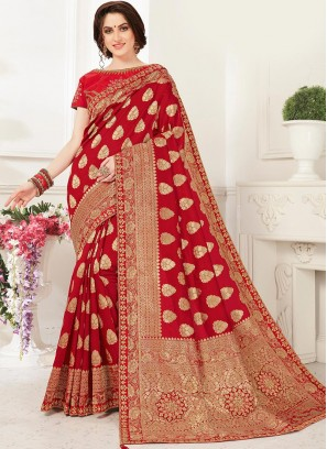 Fabulous Red Color Party Wear Saree With Unstitched Blouse