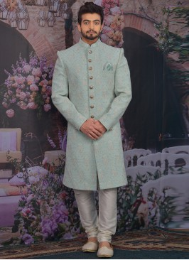 Fabulous Sky Blue Color Men Sherwani For Wedding