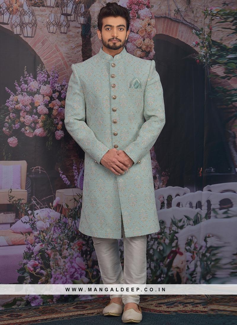 Fabulous Sky Blue Color Men Sherwani For Wedding