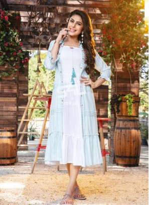 Fabulous Sky Blue Color Party Wear Rayon Kurti