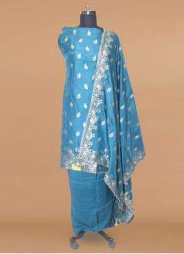 Fabulous Teal Color Function Wear Designer Salwar Kameez