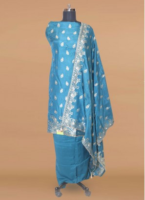 Fabulous Teal Color Function Wear Designer Salwar Kameez