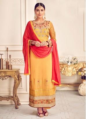 Fabulous Yellow Color Function Wear Designer Suit