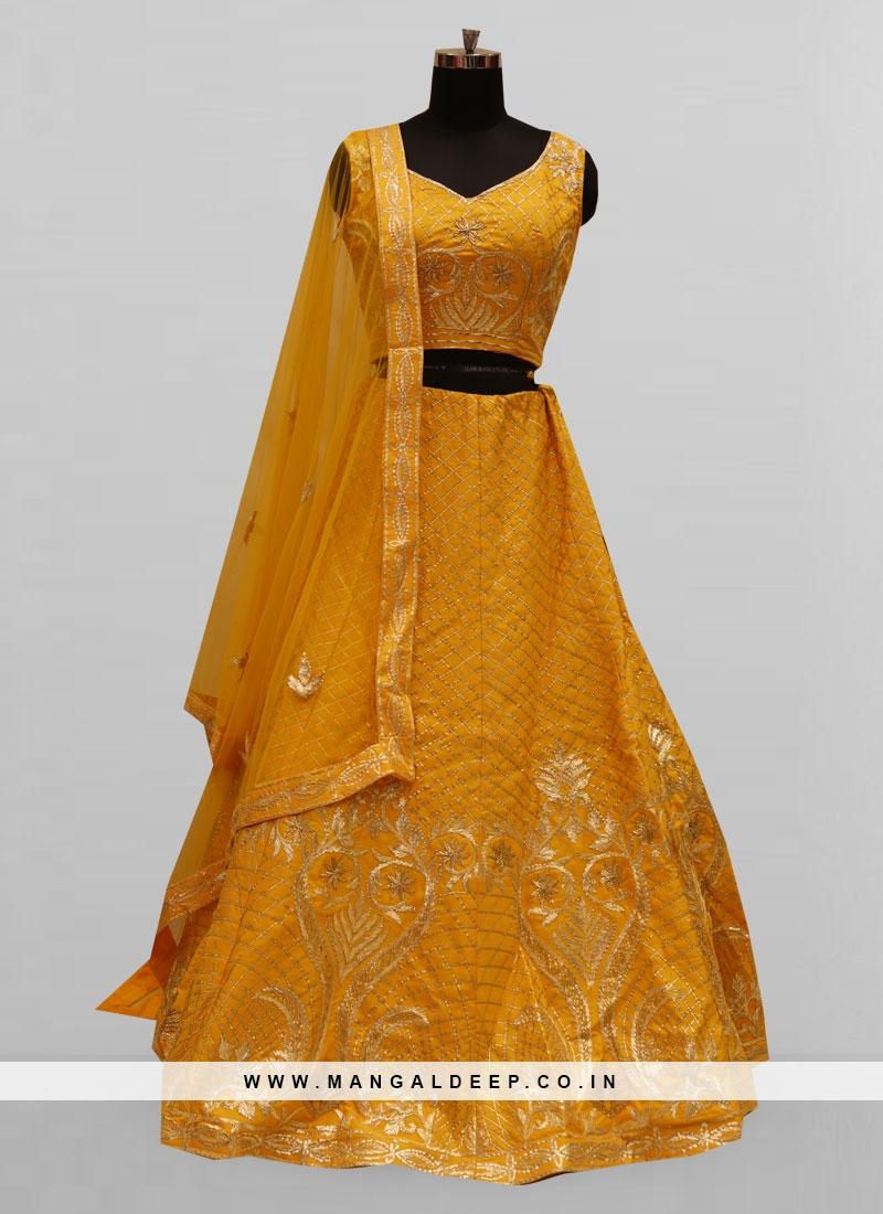 Fabulous Yellow Color Function Wear Lehenga Choli