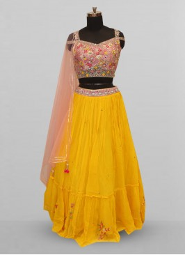 Fabulous Yellow Color Function Wear Lehenga Choli
