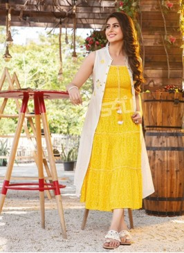 Fabulous Yellow Color Party Wear Rayon Kurti