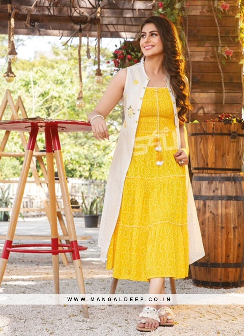 Fabulous Yellow Color Party Wear Rayon Kurti