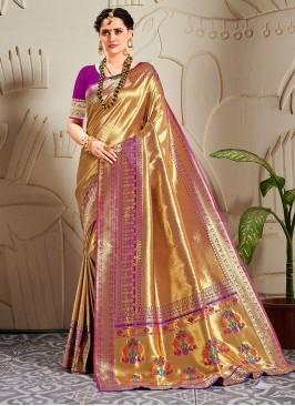 Fancy Banarasi Silk Zari Work Purple Saree