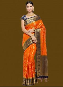 Fancy Banarsi Silk Saree In Orange Color